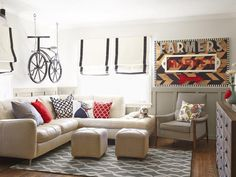 Black, white and red are the go-to colors in this living room #hgtvmagazine http://www.hgtv.com/decorating-basics/house-tour-black-white-and-red-all-over/pictures/page-5.html?soc=pinterest