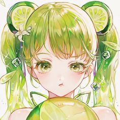 Lime Cookie - Cookie Run - Image - Zerochan Anime Image Board Anime Neko, Manga Anime Girl, Cool Anime Girl, Cute Anime Chibi, Pretty Anime Girl, Anime Girl Drawings, Fanarts Anime, Beautiful Anime Girl, Anime Eyes