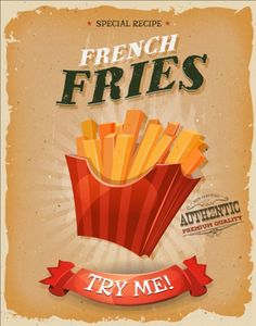 Illustration of Illustration of a design vintage and grunge textured poster, with french fried potatoes icon, for fast food snack and takeaway menu vector art, clipart and stock vectors.