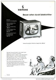 Original-Werbung/Anzeige 1958 - 2 X 1/1-SEITE - SIEMENS FERNSEHER UND MUSIKTRUHE - JE ca. 180 X 240 mm