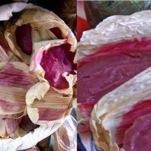 Aprende a preparar tamales de leche condensada, ¡deliciosos! (receta fácil) PAMBAZO (red guajillo pepper sauce-dipped potato/chorizo sandwich) ~~~ the peasant bread encasing the papas con chorizo is chewier/drier than a bolillo.