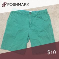 Men's Green Shorts Used green men's shorts. No stains or tears. Made of 100% cotton. The photo looks teal, but these shorts are green. Like green green. jcpenney Shorts Flat Front