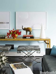Living room benches in the style of Jean-Michel Frank. Design: Hillary Thomas and Jeff Lincoln. Photo: Eric Piasecki. housebeautiful.com. #living_room #bench #zebra_print #elephant #console #animal_print