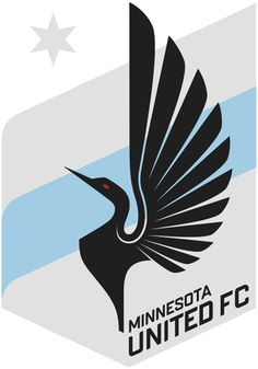 Minnesota  United FC Primary Logo (2013) - A stylized loon (which is the state bird of Minnesota) over a grey shield with a sky blue banner running through the middle, and a grey star in the upper left.