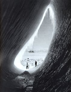 Ice Cave with the 'Terra Nova' in the distance, 5 January 1911 photo by H G…