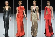 First the 1920s and now the 40s.    Retro looks are back in a big way.  Jenny Packham Fall 2012 line.