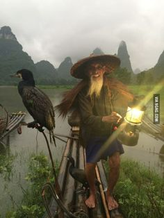 A cormorant fisherman on the Li River outside of Guilin, China.