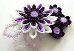 Kanzashi fabric flowers bridal hair clip with falls. by JuLVa