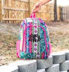 Monogrammed Backpack, Diaper Backpack, Pink Backpack, Girl Backpack, Boutique Backpack, Paisley Backpack, Colorful Bag, Personalized Bag