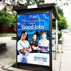 "#instaQuiz @Jobsonica: How Many #People Can You See? #In spite of changing times ""#Ontario communities need Good #jobs""! Courtesy of the Ontario's #Union for #ChangingTimes :) #nurse #paramedic #officeworker #job #ProvinceOfOntario #Canada #OPSEU #busstop #ad on the #StreetsOfToronto #workers #WorkWednesday #reflections"