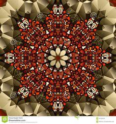 Kaleidoscope Design. Mandala Lotus Flower Symbol. Stock Vector ...