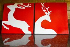 Reindeer Silhouette Paintings on Canvas Set of Two.