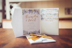 Wedding Invitation Pastel Blooms in Gold & Blues   Golden Wedding Anniversary invite   Floral Invitation Wallet   Flowers