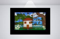 """This sweet digital print features a warm picturesque landscape with a quaint cottage, green grass and a rolling brook. The image is framed by a beautiful tree and dainty lilies. The whole feel of this print is one of family and home sweet home. Thus the tender and endearing quote """"You are my home"""".  www.etsy.com/shop/NocturnalPandie"""