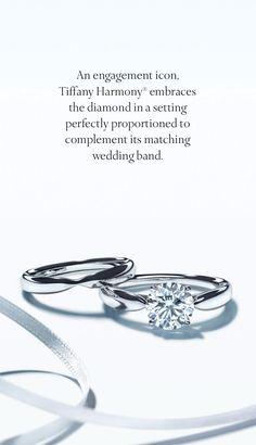 A beautiful duet: the Tiffany Harmony® engagement ring and wedding band.