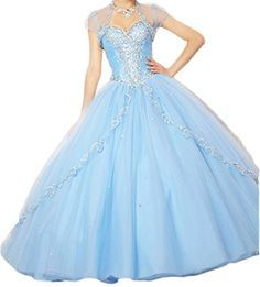 Ikerenwedding Women's Tulle Bead Quinceanera Dresses Formal Ball Gown with Shawl Blue US02 Ikerenwedding http://www.amazon.com/dp/B00Z0DDIS8/ref=cm_sw_r_pi_dp_5FyTvb12YQW74