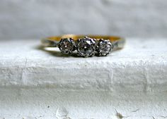 Beautiful British Antique 18K and Platinum Diamond Engagement Ring - 0.31ct.. $475.00, via Etsy.