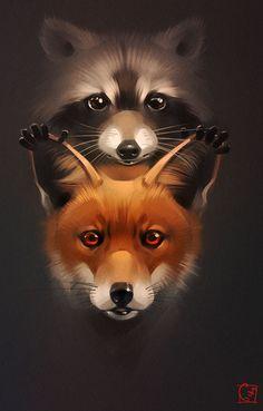 fox and raccoon by GaudiBuendia