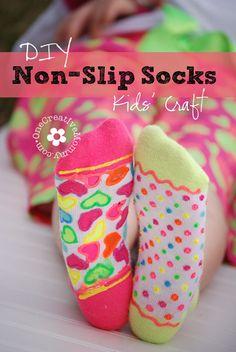 DIY Non-Slip Socks--Fun kids' craft or birthday party activity! {OneCreativeMommy.com}
