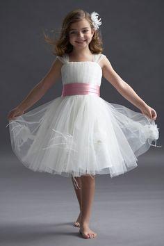 #flowergirl no flowers, long, in alt rose (brides maids dresses), belt in black