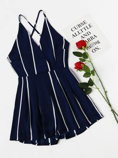 Shop Stripe Surplice Front Criss Cross Back Romper online. SheIn offers Stripe Surplice Front Criss Cross Back Romper & more to fit your fashionable needs. Cute Summer Outfits, Spring Outfits, Cute Outfits, Disco Outfits, Outfit Summer, Girl Fashion, Fashion Outfits, Beach Fashion, Vetement Fashion