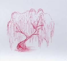 Willow tree sketch On my back. And tree colors, not red. E.