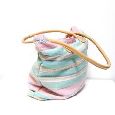 pastel striped tote