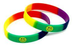 Silikon-Armband Regenbogenbarben mit Smili-Symbol 12mm Beats Headphones, Over Ear Headphones, Symbols, Ebay, Armband, Icons