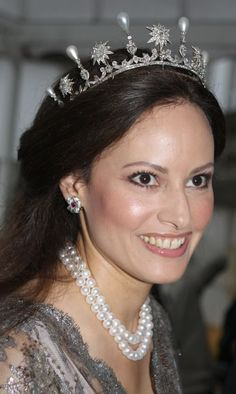The Danish pearl and star tiara is also worn by Carina Axelsson, long term partner of Gustav, Hereditary Prince Sayn Wittgenstein Berelburg