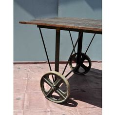 Rustic Industrial Reclaimed Wood and Iron Trolley Table
