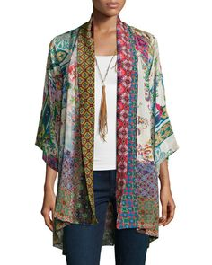 Johnny Was Collection Dream Kimono Printed Jacket Plus Size - Women Kimono Jackets - Ideas of Women Kimono Jackets - DreamKimonoPrintedJacketWomen'sbyJohnnyWasCollectionatNeimanMarcus. Look Kimono, Kimono Jacket, Print Jacket, Kimono Cardigan, Kimono Fashion, Boho Fashion, Fashion Outfits, Fashion Design, Mein Style