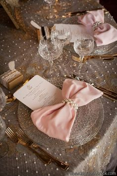 Elegant Wedding Tablescape ♥ Pink Bow Tie Napkins, Lace and Pearl Tablecloth, and Pearl Napkin Rings Wedding Centerpiece. make the pink bow purple, and you've got my dream wedding theme on a table! Beautiful Table Settings, Wedding Table Settings, Place Settings, Setting Table, Elegant Wedding, Our Wedding, Dream Wedding, Trendy Wedding, Wedding Blog