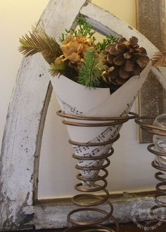 Christmas crafts: sheet music vase made from found bedsprings Bed Spring Crafts, Spring Projects, Spring Art, Christmas Projects, Fall Crafts, Holiday Crafts, Diy Crafts, Primitive Christmas, Rustic Christmas