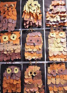 Another great owl craft! Fall Art Projects, Projects For Kids, Crafts For Kids, Owl Crafts, Animal Crafts, Kindergarten Art, Preschool Art, Creation Art, 3rd Grade Art