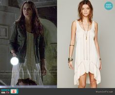 Spencer's cream high-low dress on Pretty Little Liars.  Outfit Details: http://wornontv.net/50154/ #PLL