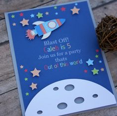 space birthday space themed rocket ship banner by lizabitsdesigns Princess Invitation, Outer Space Party, Envoyer Des Messages, Science Party, Space Theme, Cupcake Toppers, Party Invitations, First Birthdays, Party Themes
