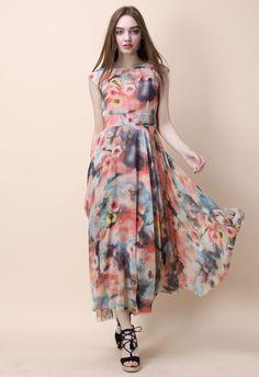 Floral Fantasy Chiffon Maxi Dress - Dress - Retro, Indie and Unique Fashion