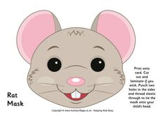 Print this cheeky rat mask for plays of the Chinese Zodiac story, perhaps? Printable Animal Masks, Clown Crafts, Mouse Mask, Quiet Book Templates, Peter Rabbit Party, Pet Mice, Carnival Masks, Felt Patterns, Animal Faces