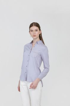 One Pocket Shirt in Baby Blue Baby Blue, Pocket, Spring, Shirts, Clothes, Tops, Women, Fashion, Outfits
