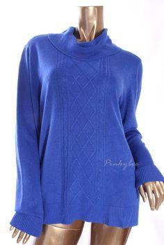 KAREN SCOTT Womens New Blue Turtleneck, Mock Long Sleeve Knit Sweater Size XL #KarenScott #TurtleneckMock #Casual