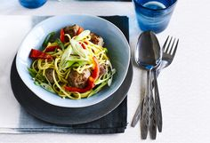 Asian pork meatball noodles. Classic Asian flavours make these meatballs a tasty mid week meal for two.