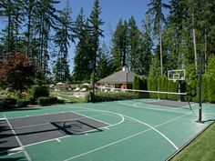 Tennis Volleyball and Basketball court all in one, i need this with all the athletes in my life..yessirr