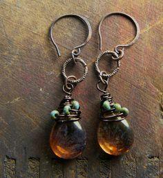 Rustic copper earrings with Czech glass.