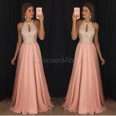 Gorgeous Pink Chiffon Prom Dresses A-Line Halter Major Beaded Ruffled Pleated Evening Formal Gowns Long Chiffon Dress for Party Wear - Best Tutorial and Ideas Cute Prom Dresses, Prom Dresses With Sleeves, Plus Size Prom Dresses, Prom Dresses For Sale, Grad Dresses, Trendy Dresses, Ball Dresses, Cheap Dresses, Homecoming Dresses