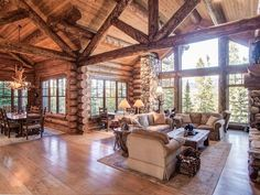 Beautiful Interior Of This Log Cabin   Simple Lovely
