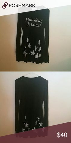 Wildfire black star dress Black dress long sleeves very comfortable Wildfox Dresses Long Sleeve
