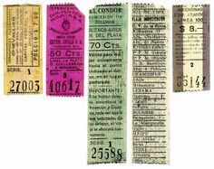 Tickets lines roll middle and long distance: Chevallier (Buenos Aires - Rosario, granting 107) Costera Criolla (Avellaneda - La Plata - Miramar, conc. 11), the condor (Buenos Aires - Mar del Plata. conc 114, with the sections indicated on the back, 27 x 107 mm) and line 100 Autorrutas Argentinas (Buenos Aires - La Plata).. Col. SRD.
