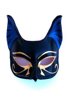 kitten on the keys — egyptian goddess bastet leather mask. Egyptian Mask, Egyptian Costume, Egyptian Goddess, Egyptian Queen, Cat Masquerade Mask, Masquerade Ball, Half Mask, Leather Mask, Cool Masks