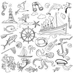 hand-drawn elements of marine theme with a lighthouse, ships,. : Hand-drawn Elements Of Marine Theme With A Lighthouse, Ships . Rad Tattoo, Tattoo Hand, Art Sketches, Art Drawings, Scrapbooking Stickers, Nautical Pattern, Bullet Journal Themes, Sea Theme, Scrapbook Designs