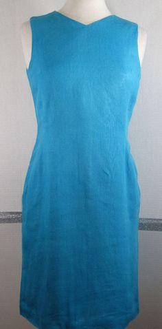 Talbots Irish Linen Dress 4 Petites V-Neck Turquoise Sleeveless Knee Length GUC #Talbots #Sheath #SummerBeach